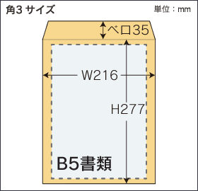 角3形封筒サイズ図